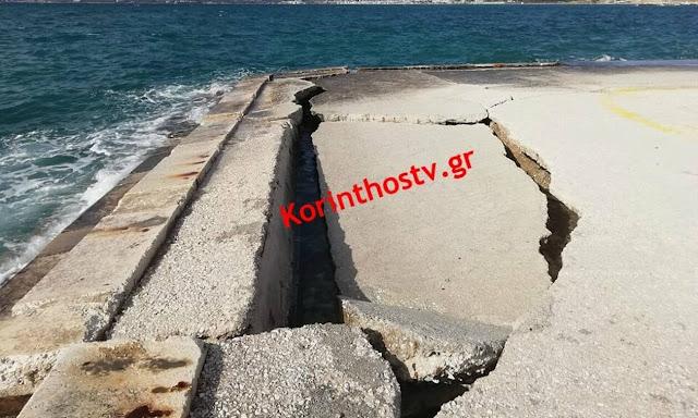 """""""Άνοιξε η γη στα δυο"""" σε παραλία της Κορινθίας"""