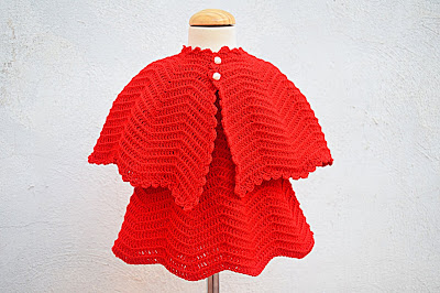 4 - Crochet Imagen Vestido rojo navideño en conjunto con capa por Majovel Crochet