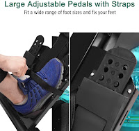 Large adjustable foot pedals on Goplus Gymax Water Rowing Machine, image