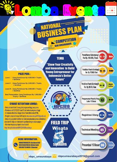 Lomba Business Plan Nasional UM Surabaya 2019 Mahasiswa