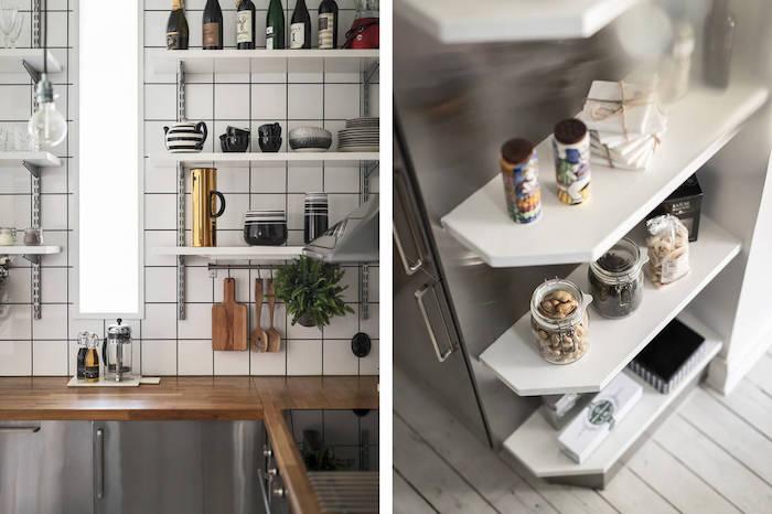 Estanterías con cremalleras y cartelas en la cocina