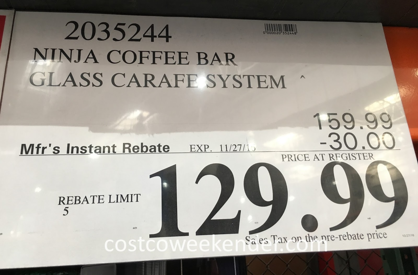 Deal for the Ninja Coffee Bar Glass Carafe System at Costco