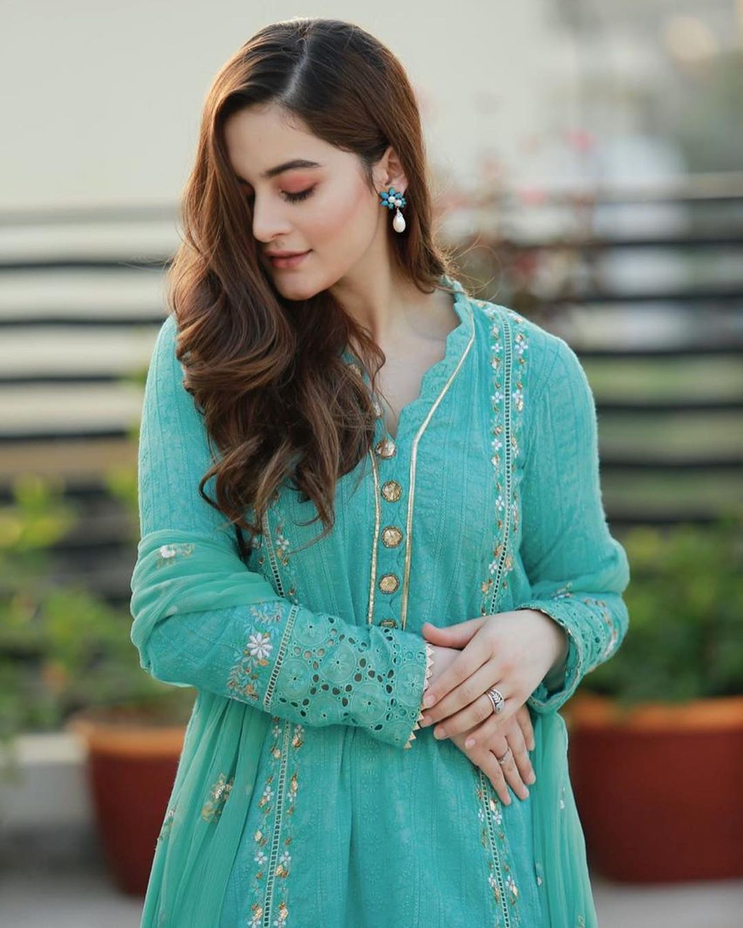 Aiman Khan in Sky Blue Suit