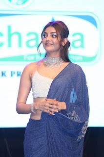 ranarangam telugu movie actress kajal agarwal in blue lehenga choli boos show Pictures5