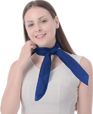 Blue Retro Sheer Chiffon Scarves