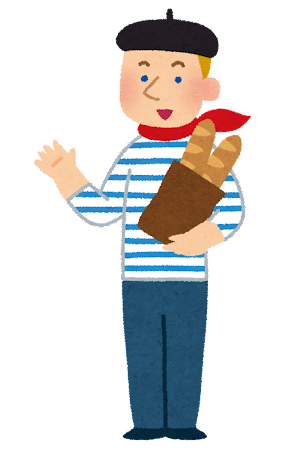 フランスパンを抱えたフランス人男性のイラスト
