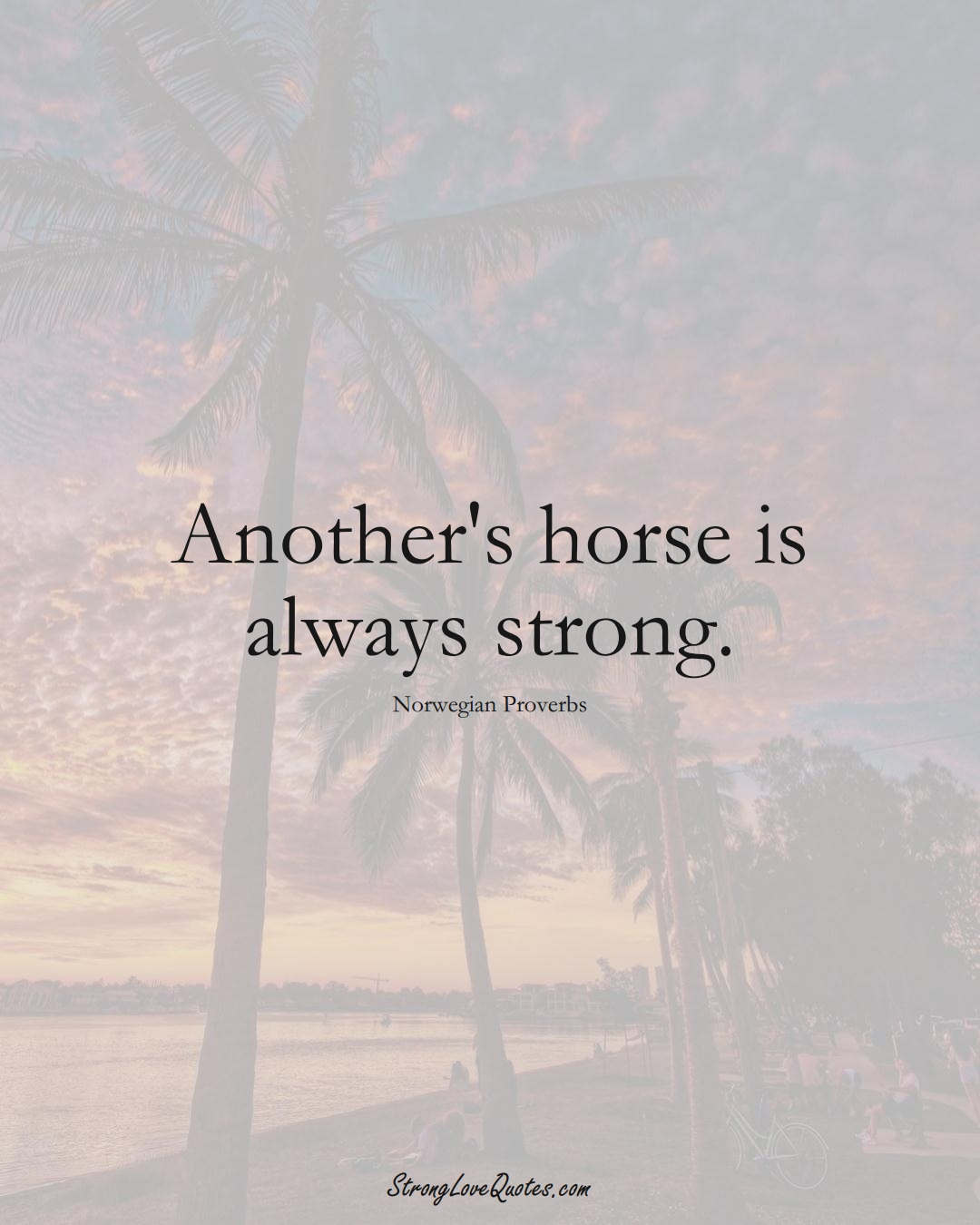 Another's horse is always strong. (Norwegian Sayings);  #EuropeanSayings