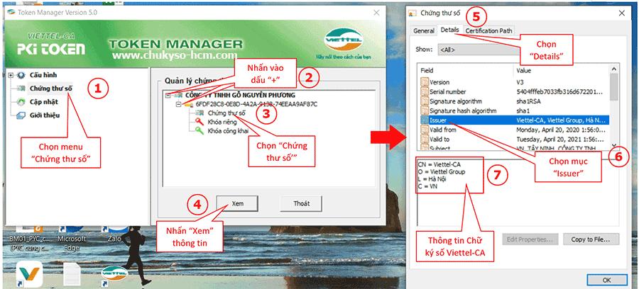 Hình 3 - Cách xem thông tin nhà cung cấp chữ ký số Viettel