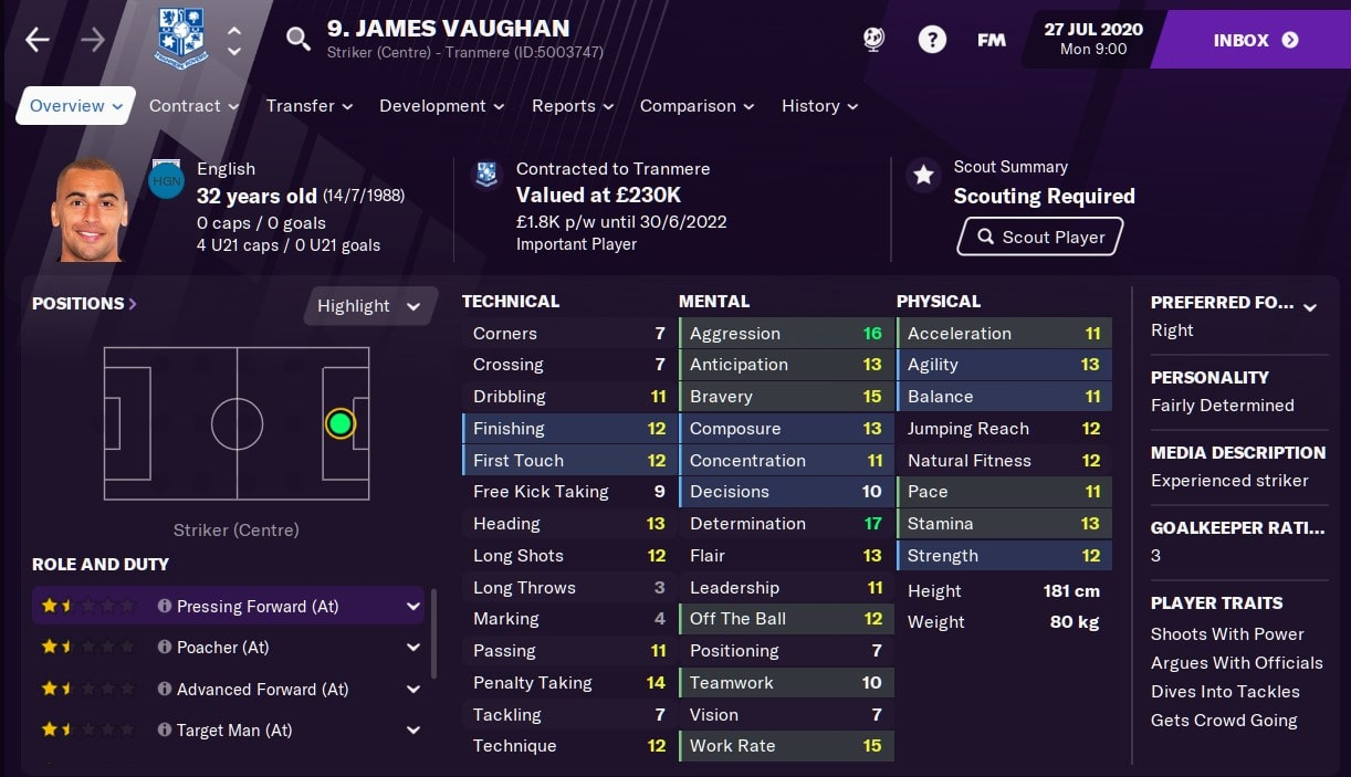 James Vaughan Football Manager 2021