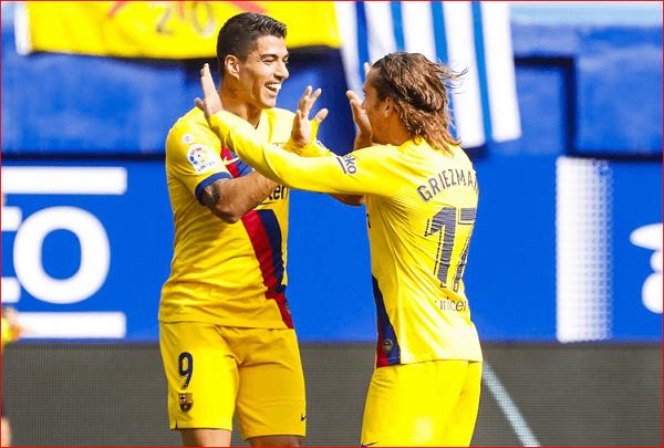 برشلونة يفوز على  ايبار 3-0 في مباراة وجد ثلاثي هجوم برشلونة بداية التفاهم