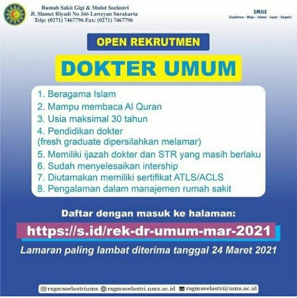 Loker Dokter Umum RS Gigi & Mulut Soelastri Surakarta Jawa Tengah
