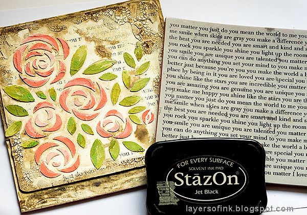 Layers of ink - Roses Mixed Media Panel Tutorial by Anna-Karin Evaldsson. Stamp the background.