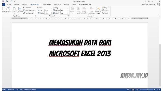 memasukan tabel excel ke word, tutorial, microsoft office, microsoft word, microsoft excel,