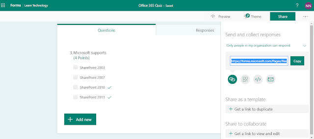 Creating Quiz/Survey on Microsoft Forms