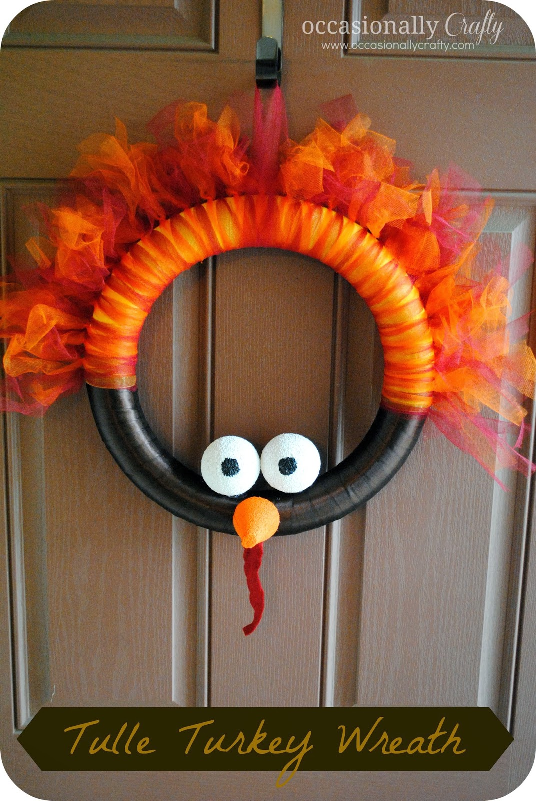 tulle turkey wreath occasionally crafty tulle turkey wreath. Black Bedroom Furniture Sets. Home Design Ideas