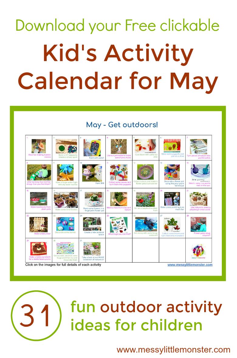 Outdoor Kids Activity Calendar. 31 Fun Outdoor Activity Ideas For Toddler,  Preschoolers And Older