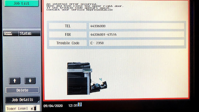 Konica Minolta bizhub 363 Trouble Code C-2350