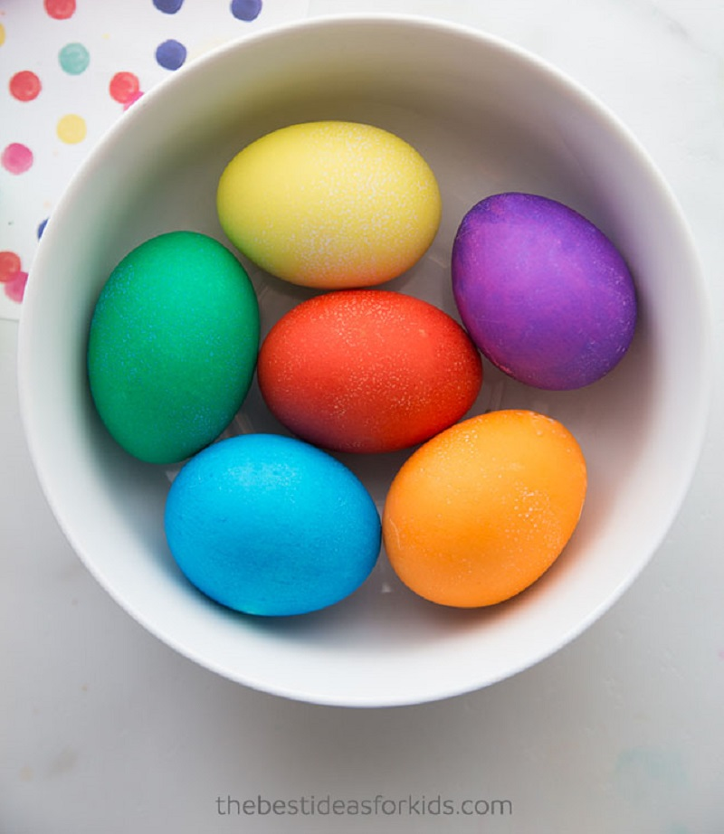 eggs dyed with food colouring