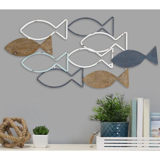 Wood And Metal School Of Fish Wall Decor