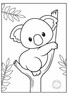 animales bebé para colorear koala
