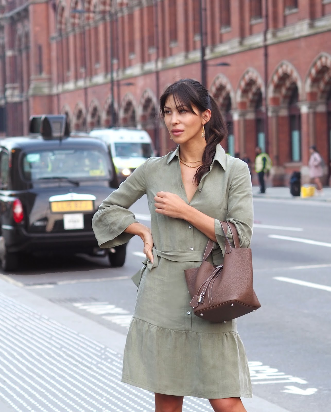 Euriental | luxury travel & style | Oui London dress, Hermes bag, H&M shoes in King's Cross London