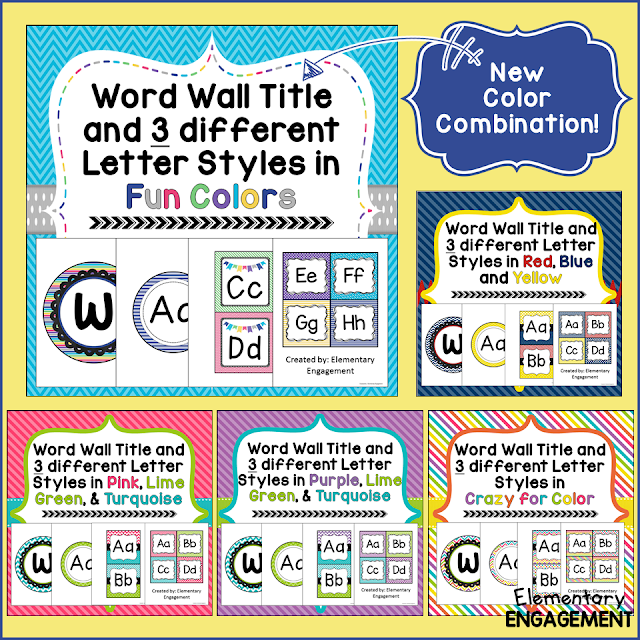 Five different color combinations for word wall letters!