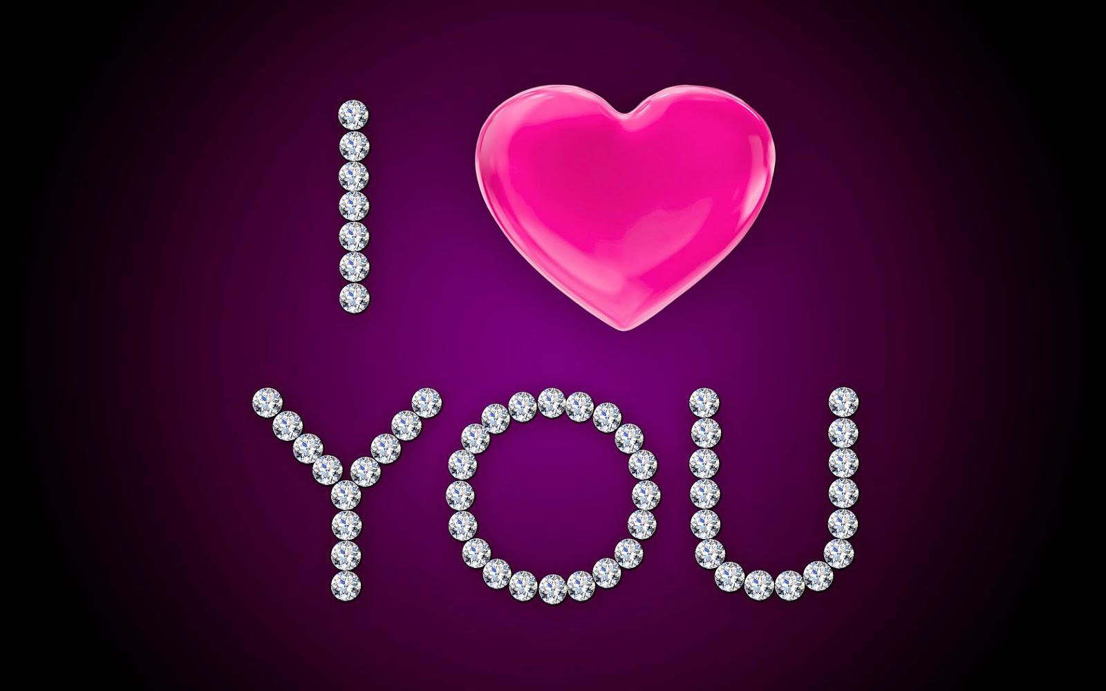 Paarse liefdes achtergrond met diamanten en de tekst I love you