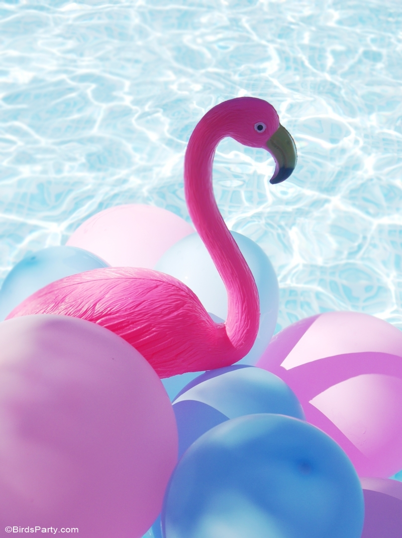 Flamingo Pool Party Summer Birthday Ideas - BirdsParty.com