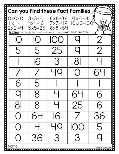 Multiplication Number Puzzle Fact Practice Activities Free