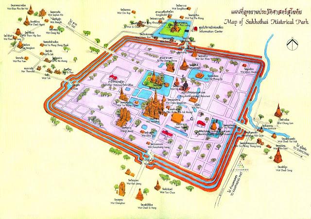 Mapa turístico de Ayutthaya Tailândia