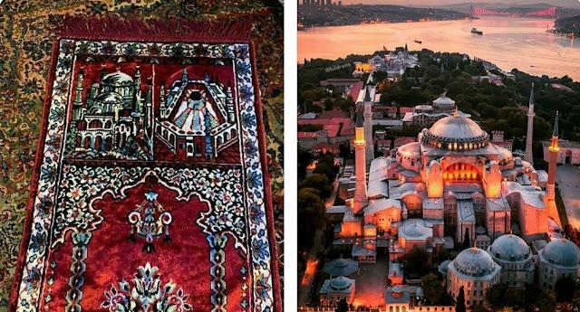 Sajadah Legedaris Dengan Gambar Masjid Aya Sofya