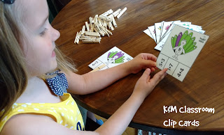 Addition Clip Cards - The sum is written on the peacock. The kiddos need to find the equation that fits the feathers' coloring and clip it with a clothespin.