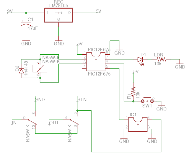 Noiseless relay true bypass schematic