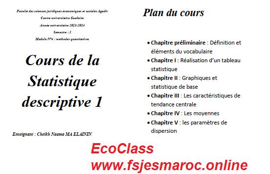 Cours De La Statistique Descriptive 1