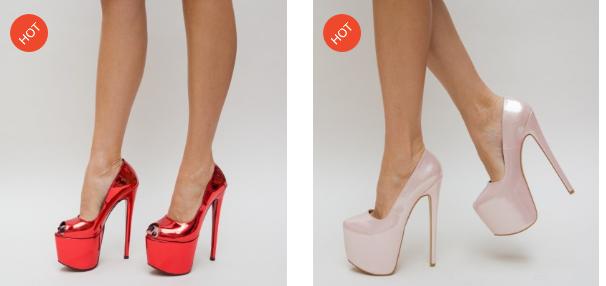 Pantofi eleganti cu platforma si toc inalt decupati rosii, roz lacuiti