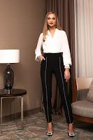 Pantaloni PrettyGirl negri eleganti conici din stofa
