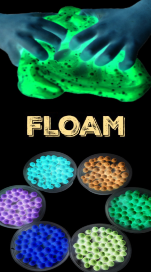 Make your own play FLOAM that glows-in-the-dark! #floamrecipe #floamslime #floamdiy #glowinthedarkslime #glowinthedarkactivities #growingajeweledrose