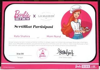 sertifikat partisipasi rafa shahira dan mom nurul sufitri blogger masak bersama barbie chef stella lowis resep es teler cupcakes