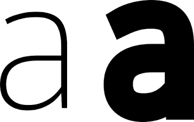 "Thin letter ""a"" and thick letter ""a"""
