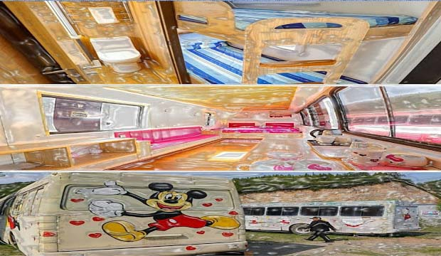 In Shanxi Province, there is Tai Tai Mountain Park resort in Taiyuan, where 30 unused buses have been transformed into cartoon base mini hotels, which charge around US$43 per night. The interiors of these abandoned buses hotels have been adorned with characters like Mickey Mouse and Hello Kitty. They have bathrooms and private kitchens.