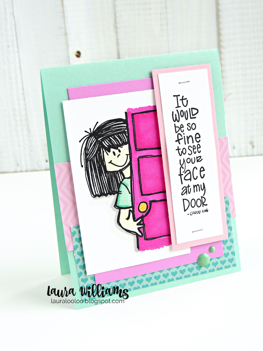 """Make handmade cards and crafts using stamps from Impression Obsession. """"It would be so fine to see your face at my door"""" is such a sweet sentiment for a handmade card. Visit my blog to see more card making ideas with these stamps."""