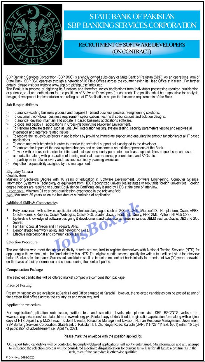 Latest State Bank of Pakistan SBP Jobs Advertisement 2021