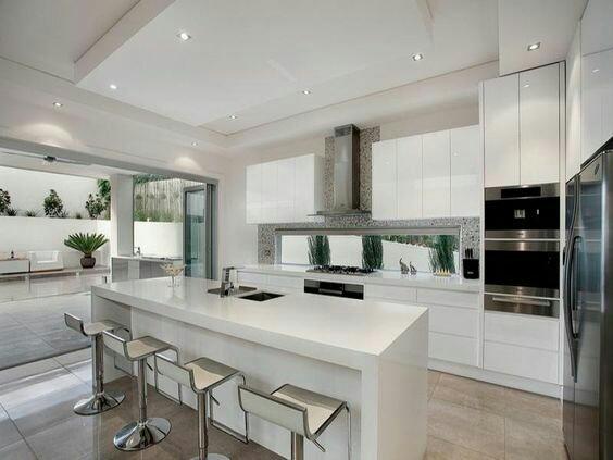Contoh gambar desain kitchen set lurus furniture kitchen for Kitchen set lurus