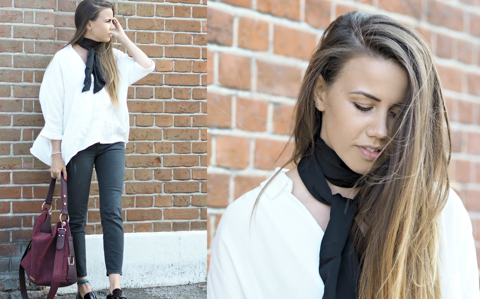 workwear style with a neck tie scarf