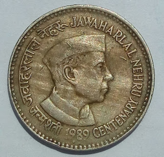 5-Rupees Jawaharlal Nehru centenary 1989-coin-value