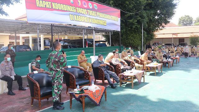 Danyonif Raider 514 Kostrad Hadiri Rapat Koordinasi Penanganan Covid-19 Di Bondowoso