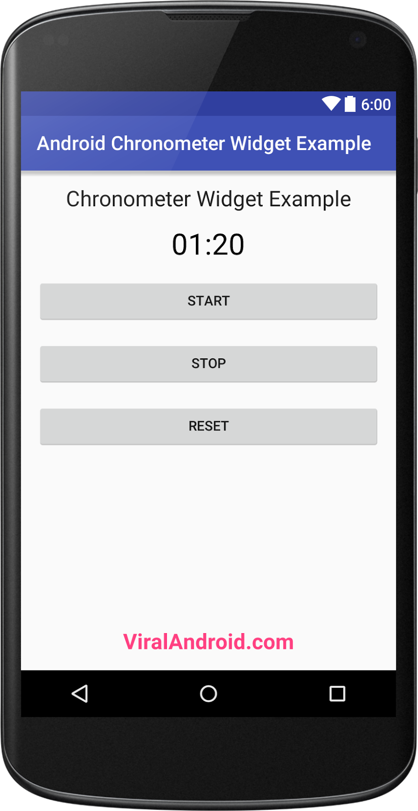 you will learn to implement simple chronometer in android application with a start Android Chronometer Widget Example