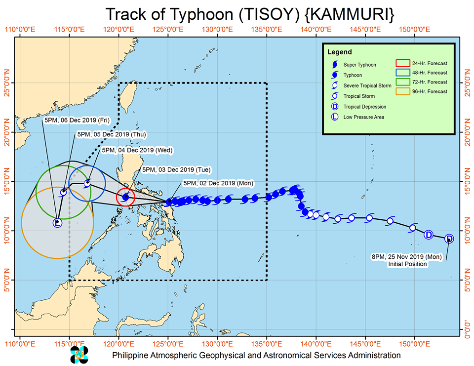 Track of Typhoon Tisoy as of December 2, 2019