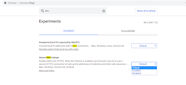 Chrome DNS flag