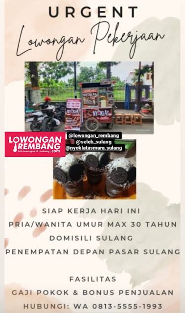 Lowongan Kerja Karyawan Jaga Stand Nyoklat Asmara Cabang Sulang Rembang